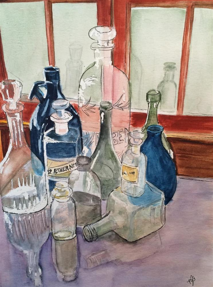 """Antique Bottles 11x 9  (price w/o frame is $55.00)"" original fine art by Nancy Beard"