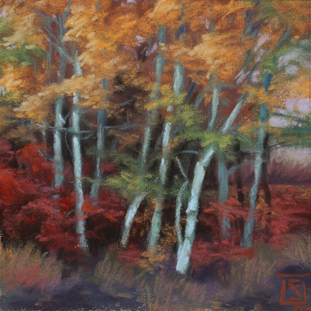 """Autumn Grove, Dusk"" original fine art by Sheila Evans"