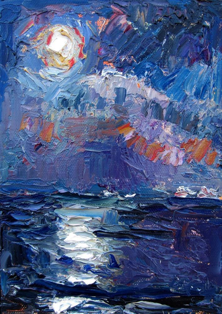 """""""Moon Over Ocean 3"""" original fine art by Carol Steinberg"""