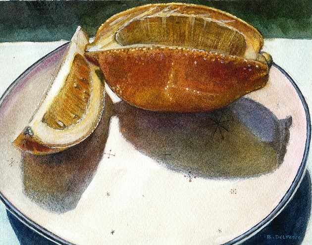 """Watercolor: Meyer Lemon (& the Getty Museum)"" original fine art by Belinda Del Pesco"