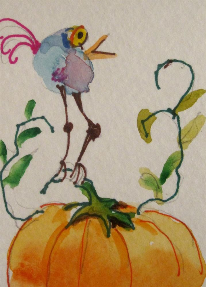 """Bird and Pumpkin"" original fine art by Delilah Smith"