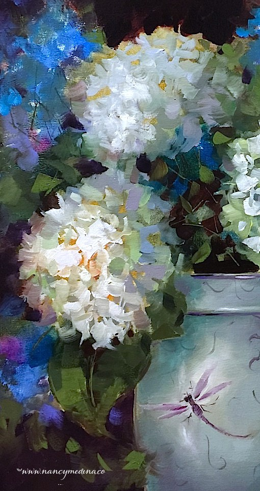 """Dragonflies and Delphiniums and a New France Workshop - Nancy Medina Art"" original fine art by Nancy Medina"