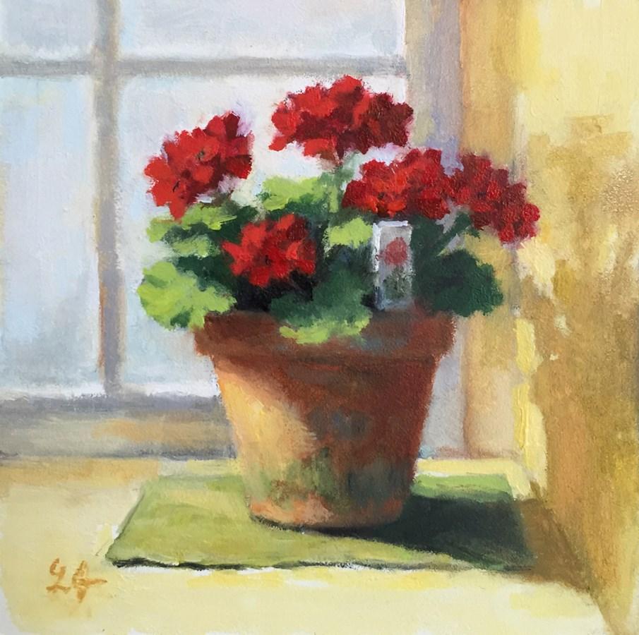 """Geraniums, Mini"" original fine art by Linda Jacobus"