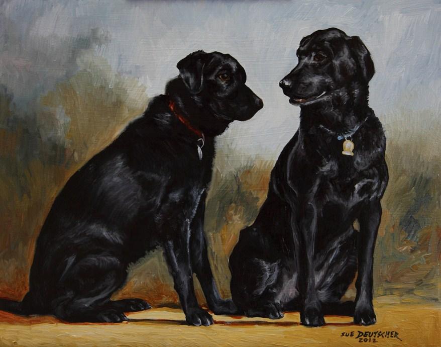 """""""Two Black Labs"""" original fine art by Sue Deutscher"""