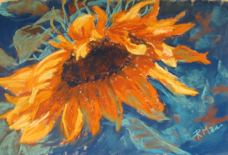 """Sunflower with complements"" original fine art by Ruth Mann"