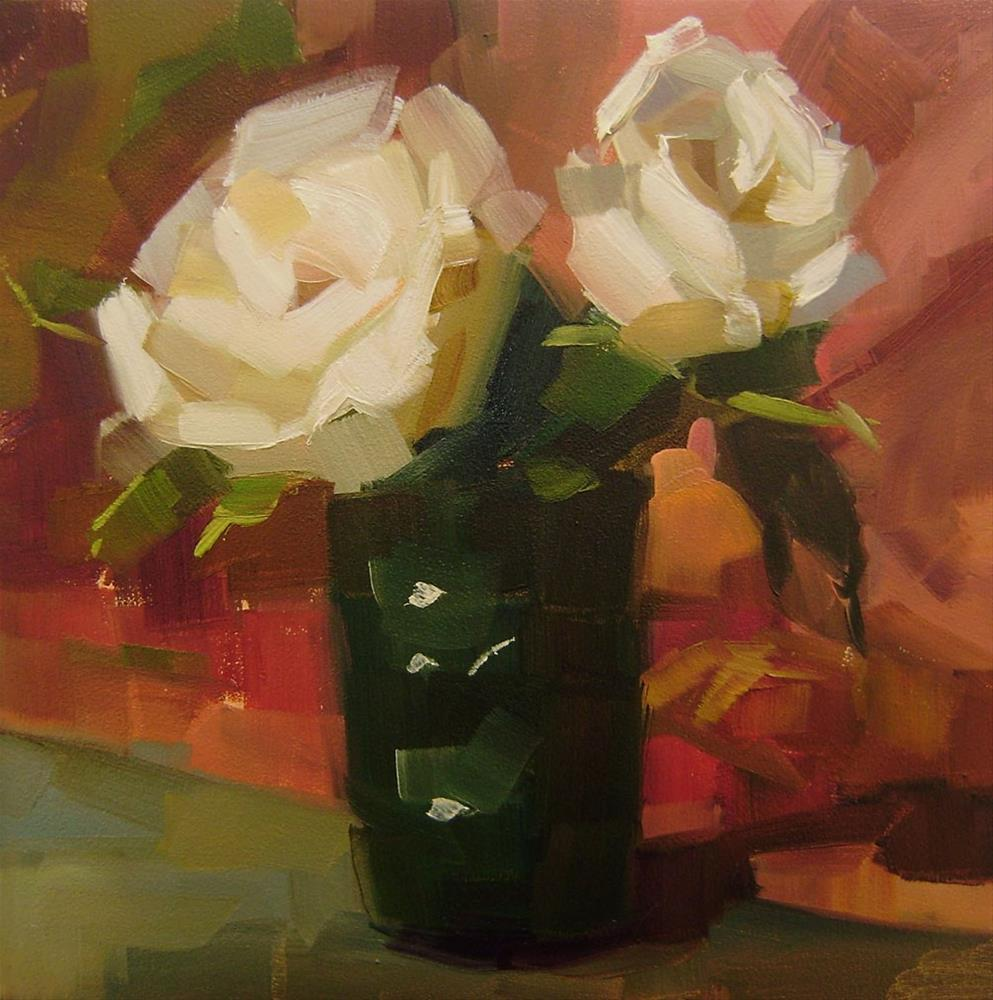 """White Roses"" original fine art by Holly Storlie"