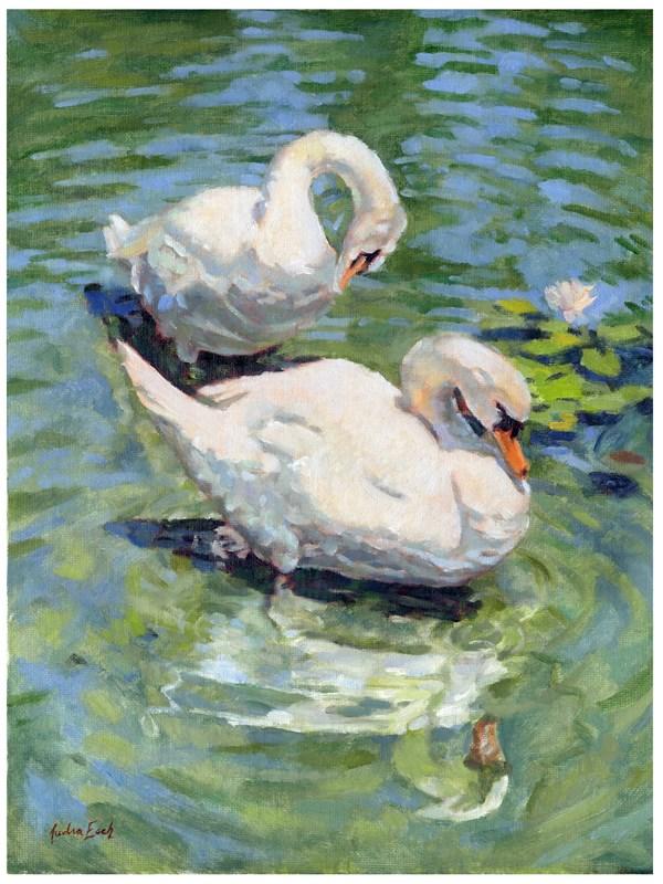 """Hollywood Forever Swans"" original fine art by Audra Esch"