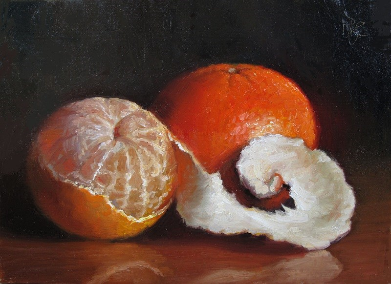 """Peeled Clementine and Sunburst Tangerine"" original fine art by Debra Becks Cooper"