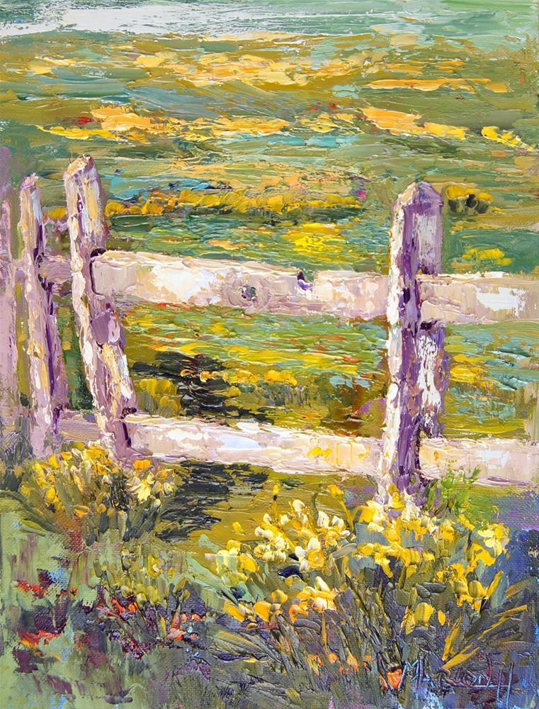 """""""Daffodil Fenceline"""" original fine art by Marion Hedger"""