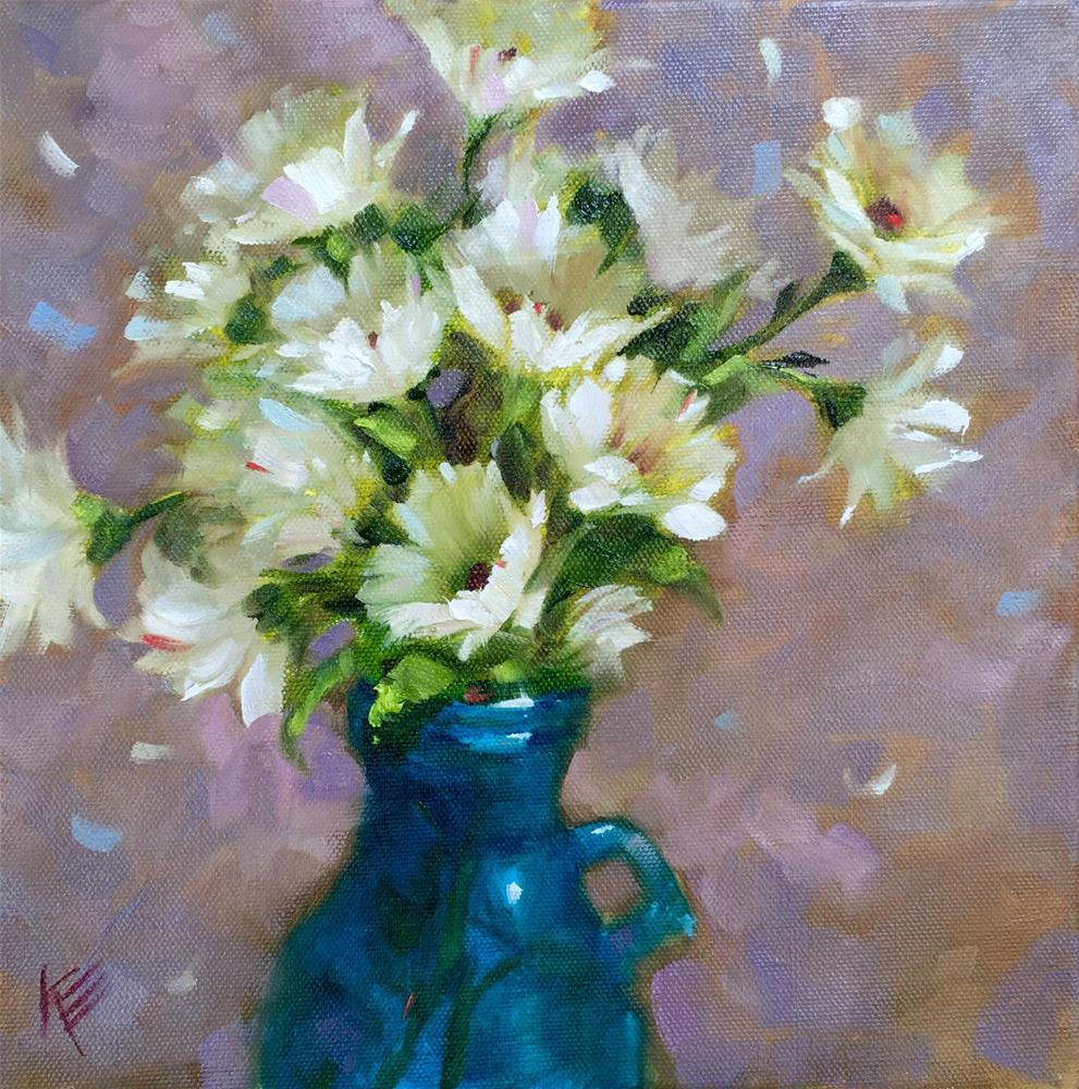 """Daisies in turquoise jar"" original fine art by Krista Eaton"