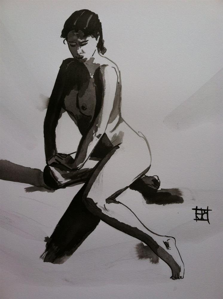 """Nude in black ink"" original fine art by Arron McGuire"