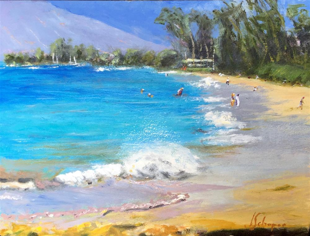 """Maui's Beautiful Beach - Kam 1  Perfect day"" original fine art by Joseph Schopen"