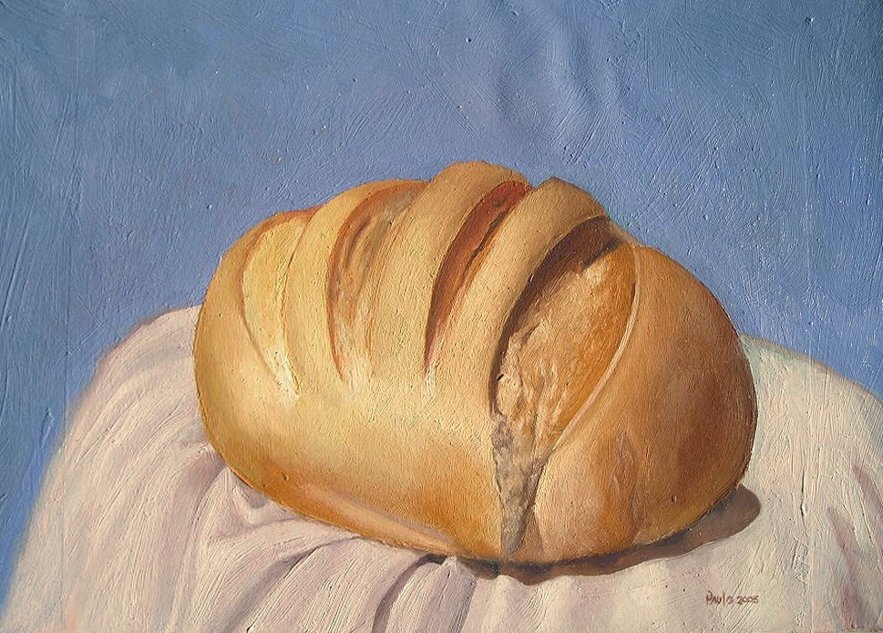 """""With bread all sorrows are less"" 6×8.75 inches oil on panel still life"" original fine art by Paulo Jimenez"