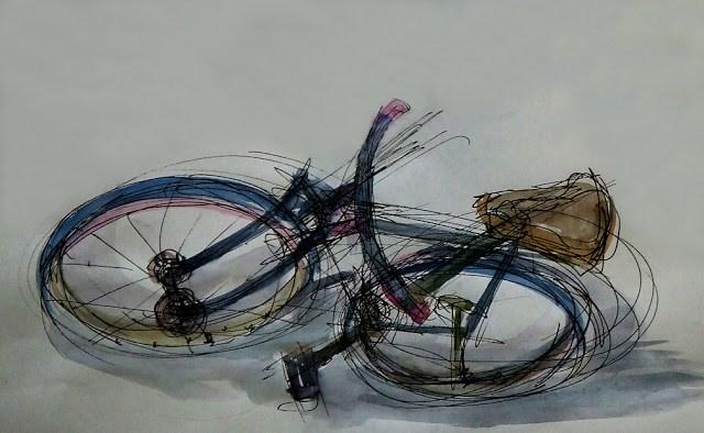 """""""Bike"""" original fine art by Mitsuru Cope"""