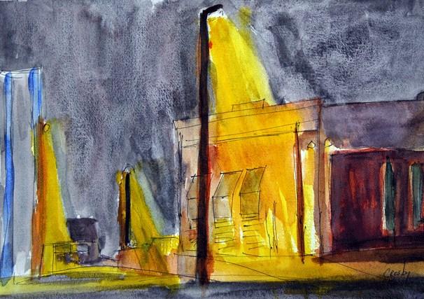 """Night Lights"" original fine art by Donna Crosby"