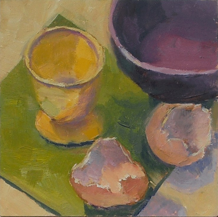 """Egg cup and shells"" original fine art by Kathy Johnson"