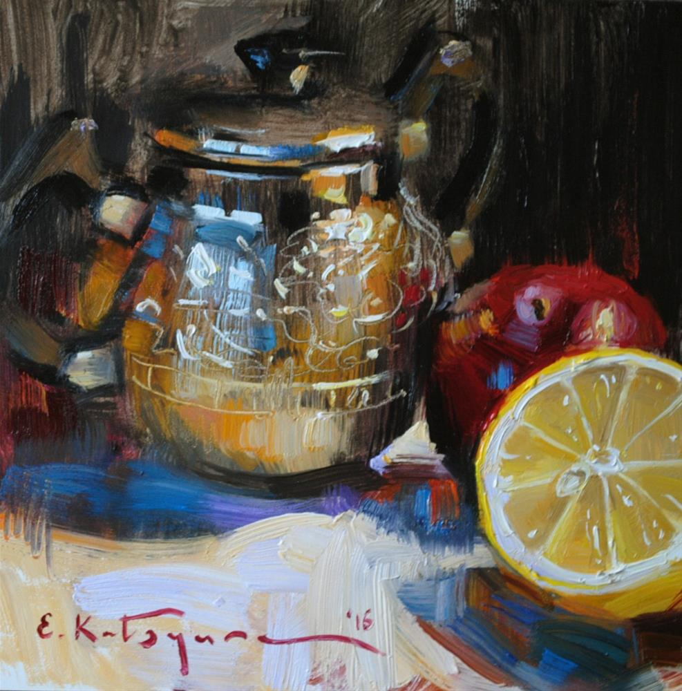 """Sugar Bowl and Lemon"" original fine art by Elena Katsyura"