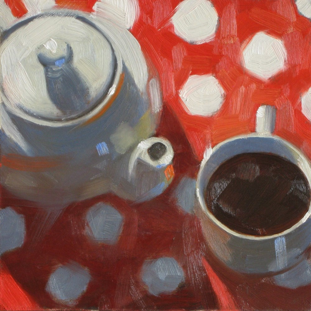 """Coffee and polka dots  6x6 oil"" original fine art by Claudia Hammer"