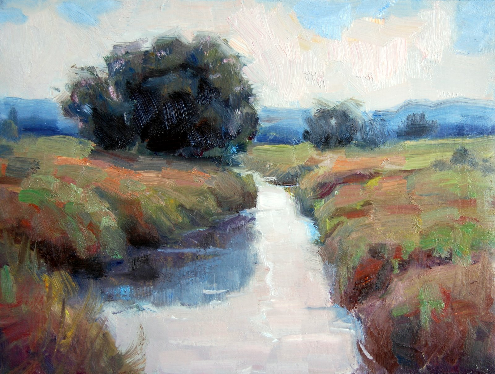 """Mesilla Valley Ditch"" original fine art by Julie Ford Oliver"