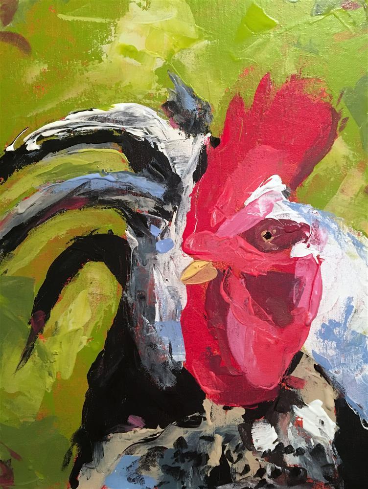 """Rooster"" original fine art by Susan Elizabeth Jones"