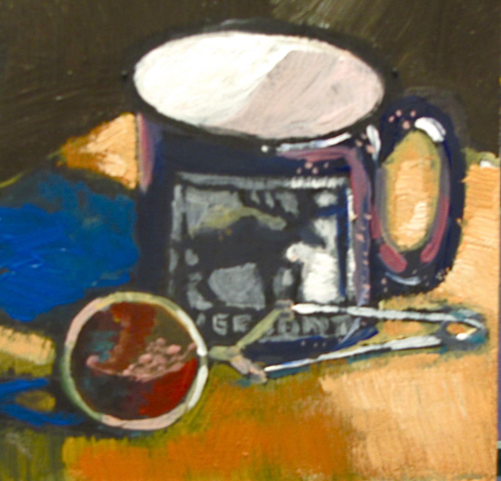 "Mug    4""x4""  acrylic #327 original fine art by Christine Holzschuh"