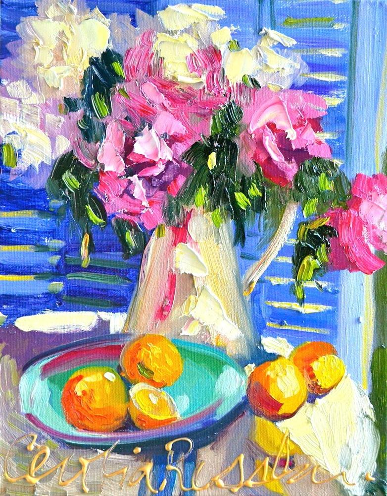 """FRENCH PEONIES"" original fine art by Cecilia Rosslee"