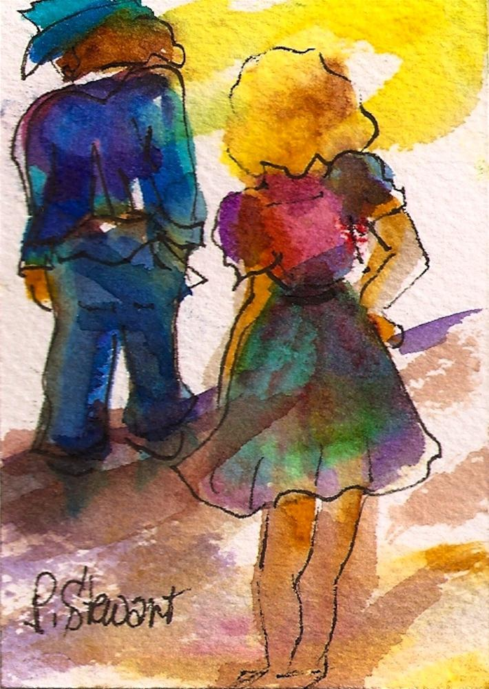 """""""ACEO, Trouble in Paradise Couple Arguing"""" original fine art by Penny Lee StewArt"""