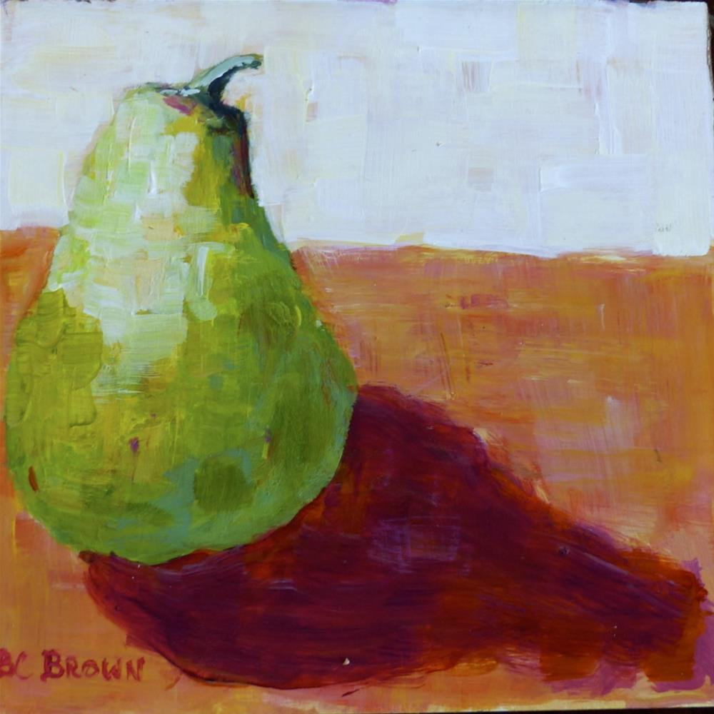 """Cozy Still Life Pear"" original fine art by Beth Carrington Brown"