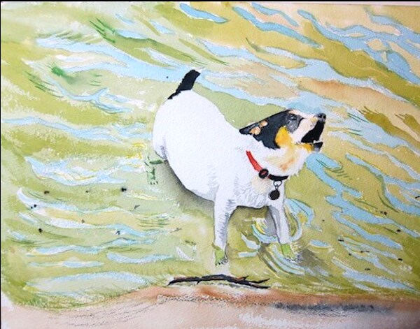 """Cosmo at the Beach #2"" original fine art by Tim Barraud"