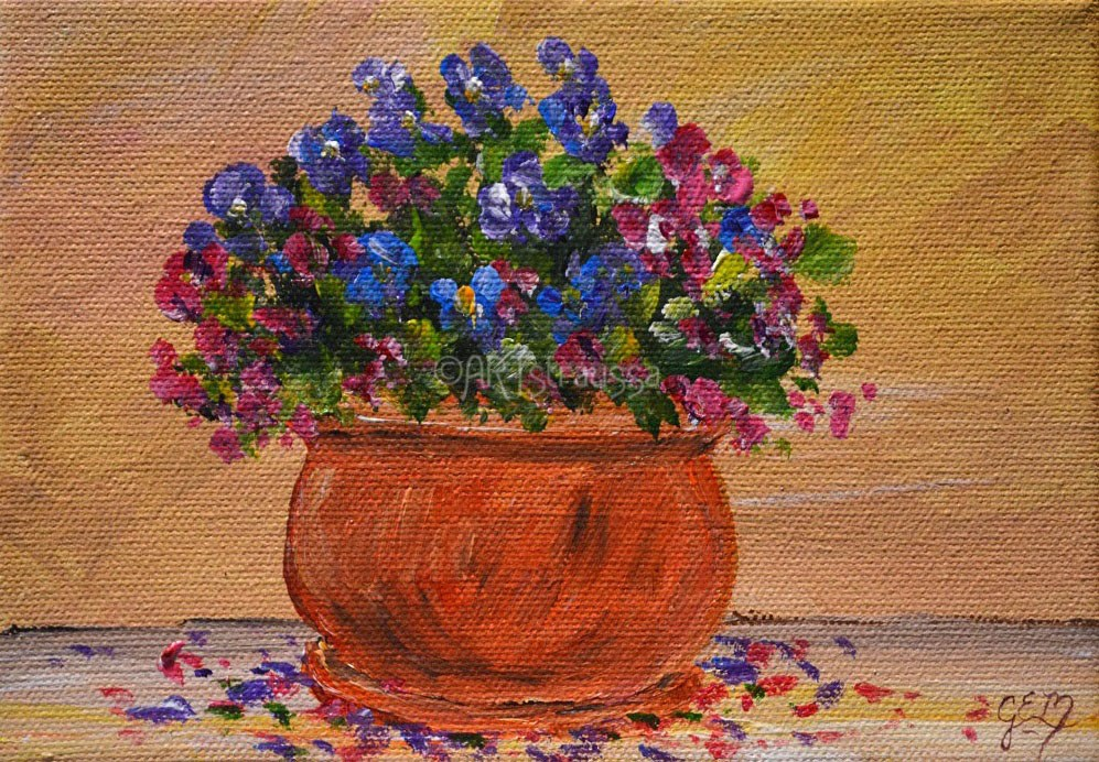 """Terracotta Blooms"" original fine art by Gloria Ester"