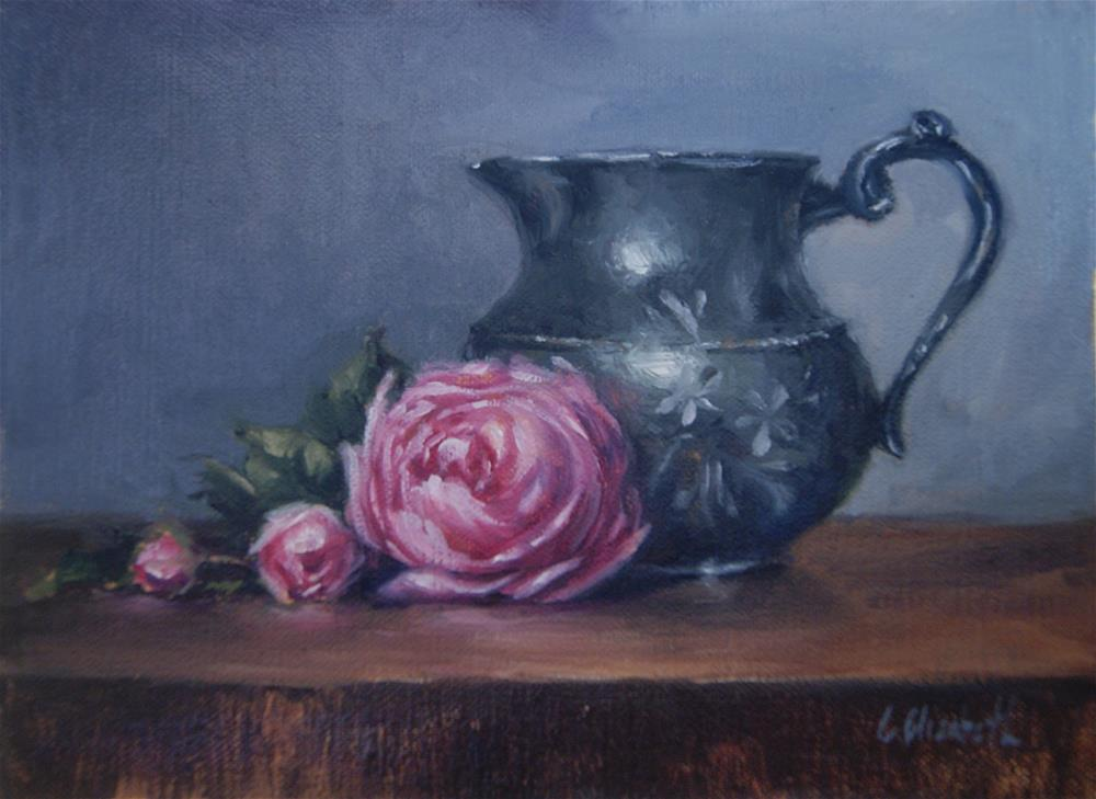 """Still Life with Old English Roses and Pewter Pitcher"" original fine art by Carolina Elizabeth"