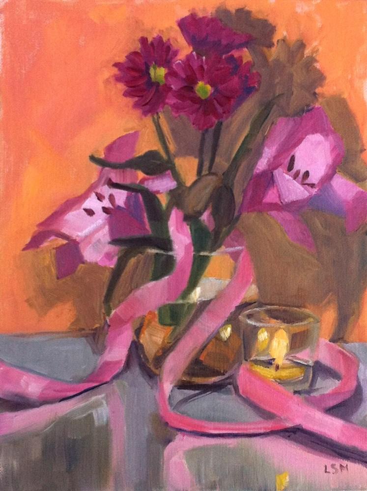 """Pink Flowers and Ribbon"" original fine art by Linda Marino"