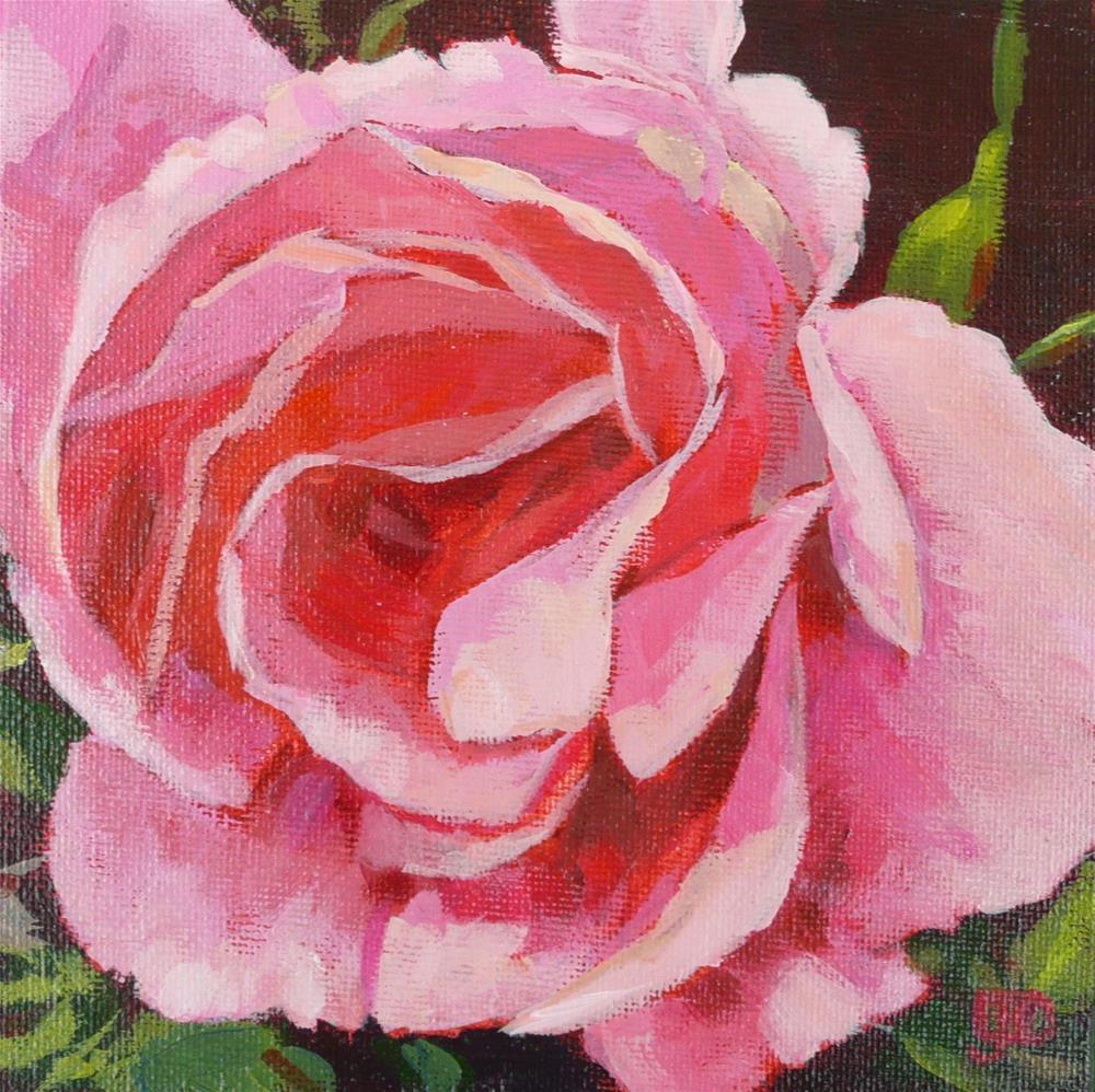 """Party Pink Rose"" original fine art by Leanne Owen"
