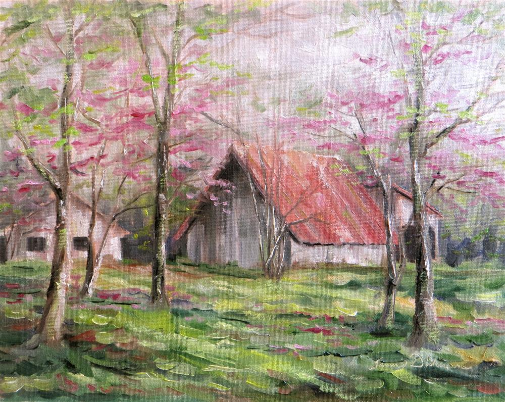"""Red Roofed Barn"" original fine art by Tammie Dickerson"
