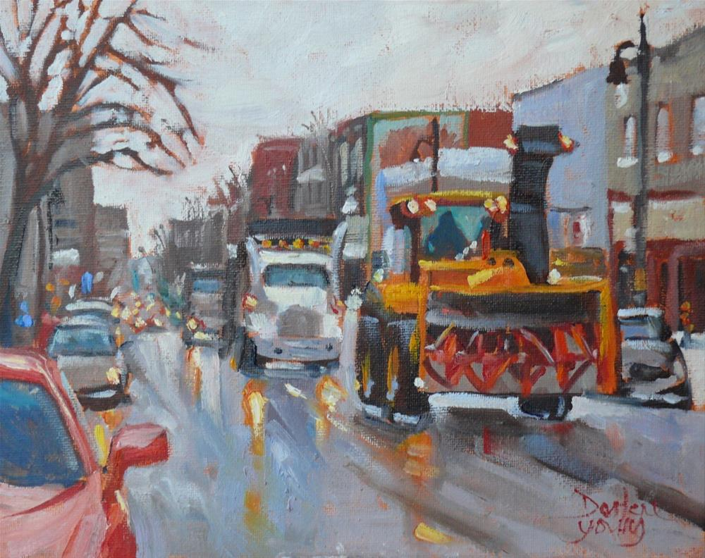 """917 Montreal Winter Scene, Blvd st Laurent, oil on board, 8x10"" original fine art by Darlene Young"
