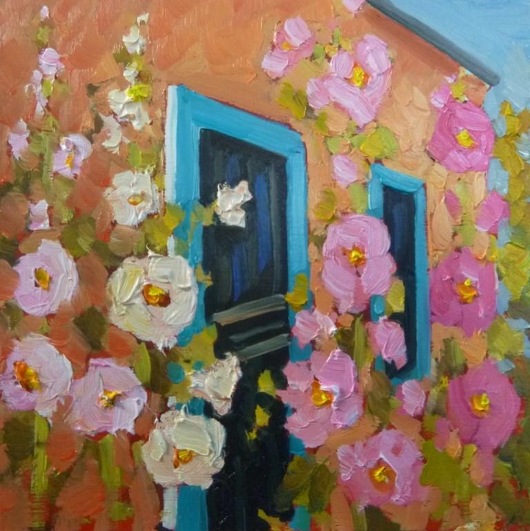 """""""29 HOLLYHOCKS AT OLD TOWN"""" original fine art by Dee Sanchez"""
