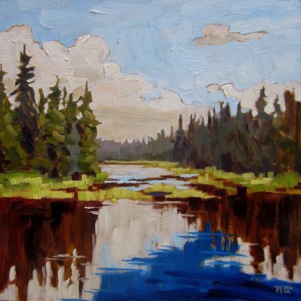 """Waskesiu River Reflection"" original fine art by Nicki Ault"