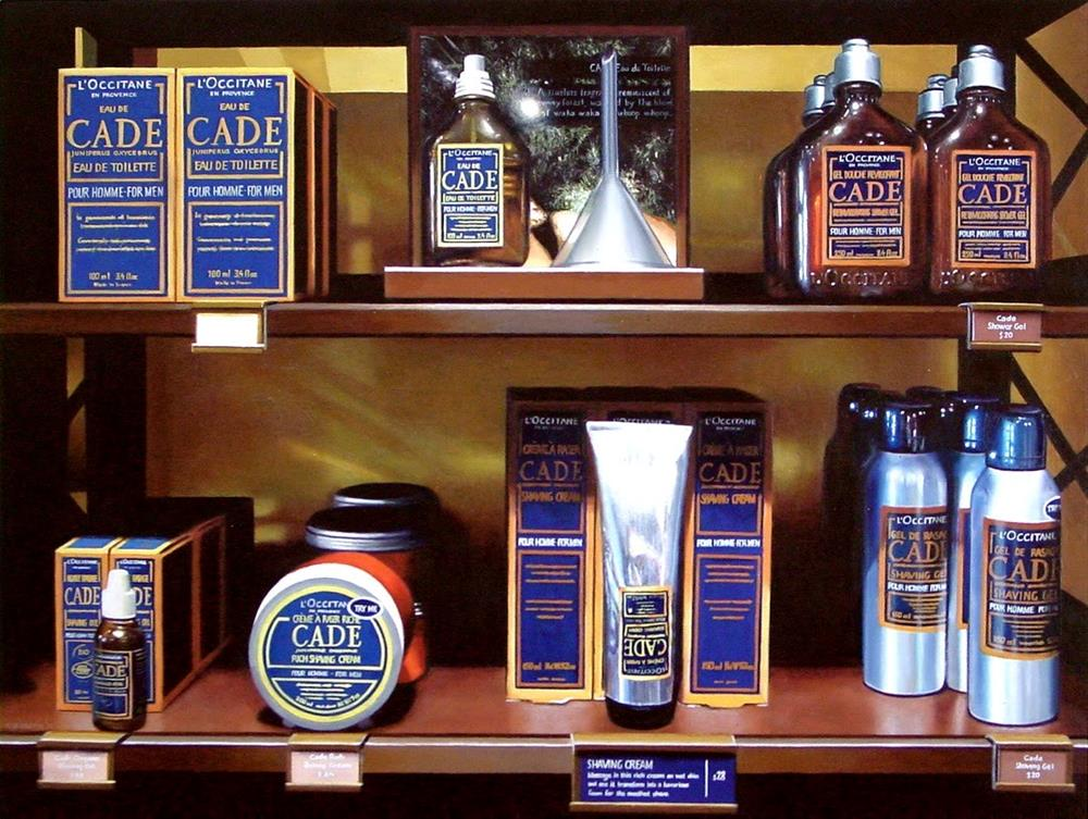 """Men's Lotion- Still Life Painting Of L'Occitane Cade Lotions And Aftershaves"" original fine art by Gerard Boersma"