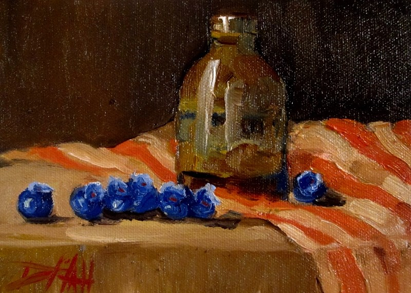 """Blueberries and Handmade Vase"" original fine art by Delilah Smith"
