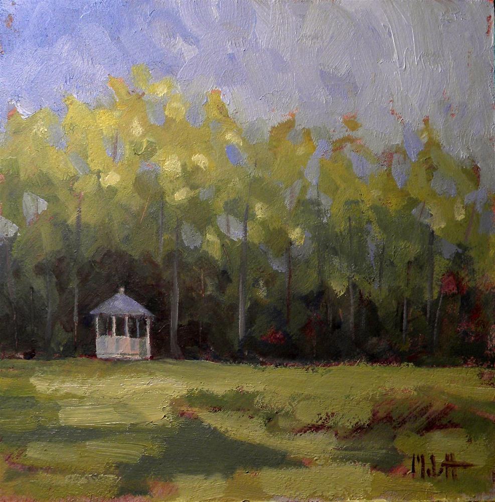 Gazebo in the Park Landscape Oil Painting original fine art by Heidi Malott