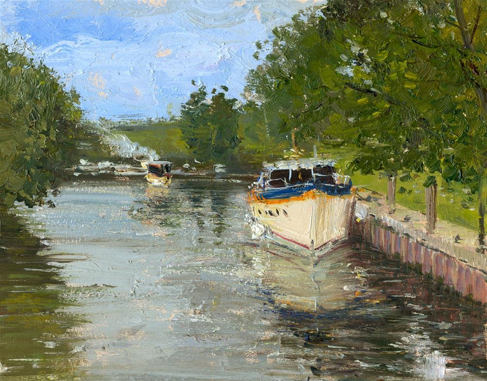 """The Steam Boat arrives, Henley"" original fine art by Adebanji Alade"