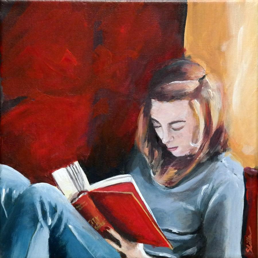 """1279 Reading Girl"" original fine art by Dietmar Stiller"
