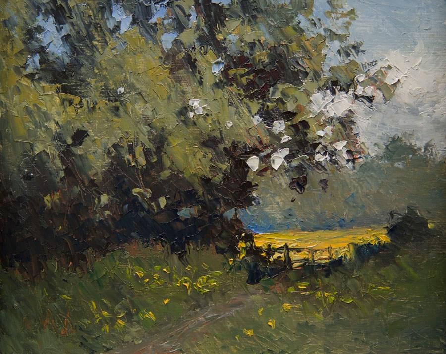 """""""Buttercup Field"""" original fine art by Jethro Knight"""