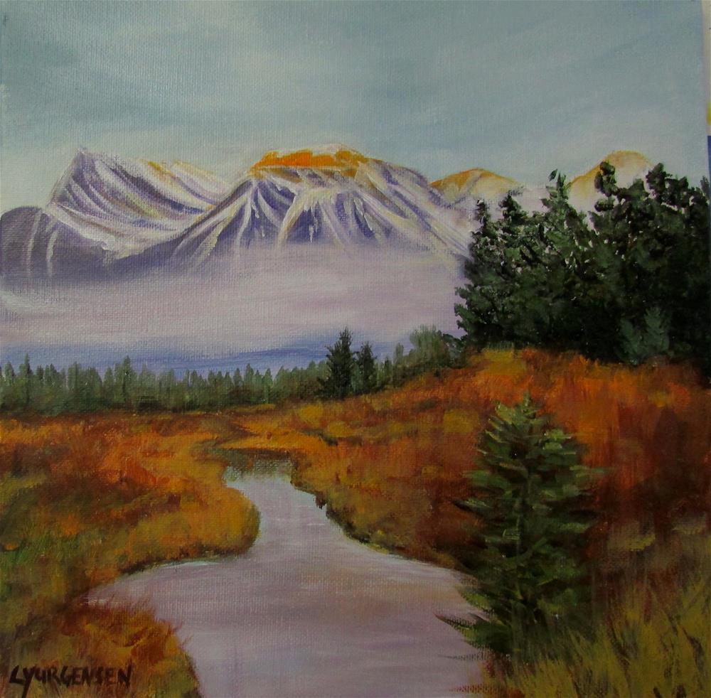 """12 x 12 inch acrylic Canmore, Alberta"" original fine art by Linda Yurgensen"