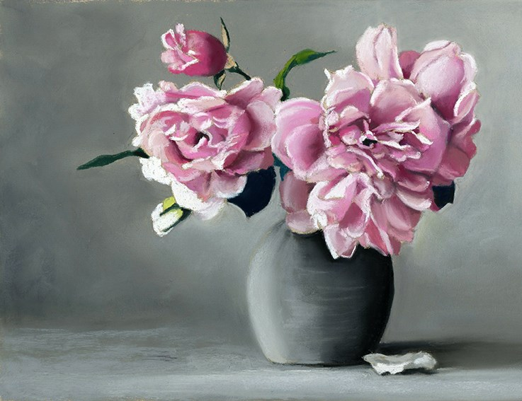 """Pink Roses on Gray"" original fine art by Ria Hills"