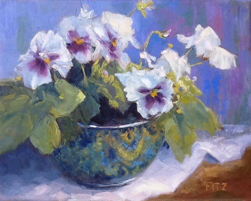"""Purple and white Pansies"" original fine art by Jean Fitzgerald"