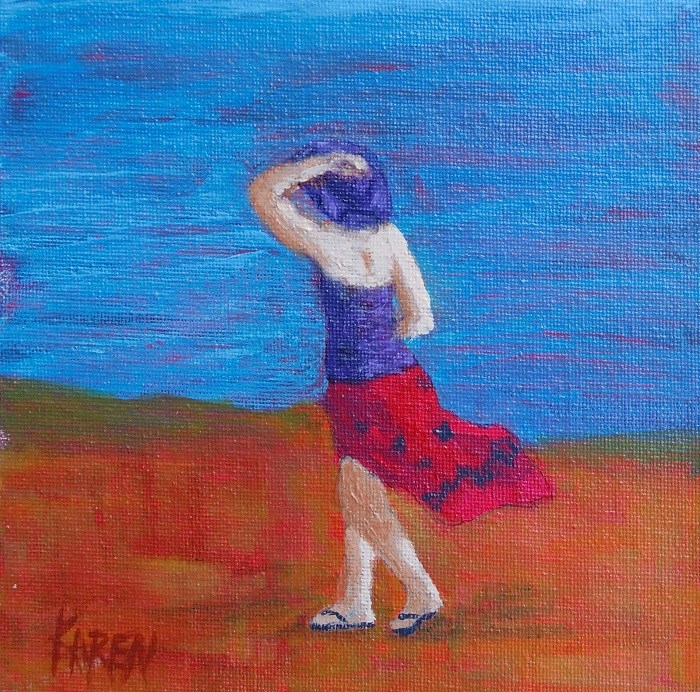 """walk along the beach"" original fine art by karen richardson"