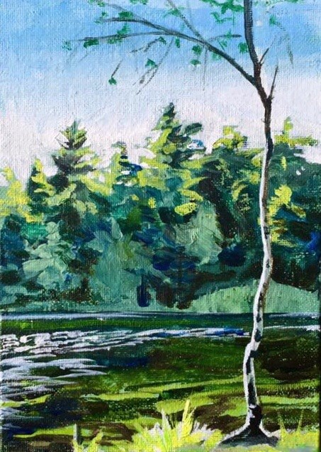 """Little Cedar"" original fine art by Lauren Kuhn"