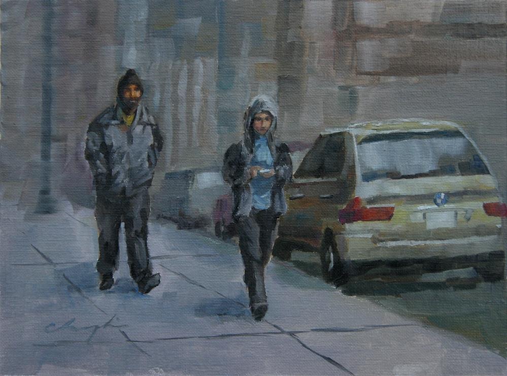 """""""Go to Work"""" original fine art by Chuang Liu"""