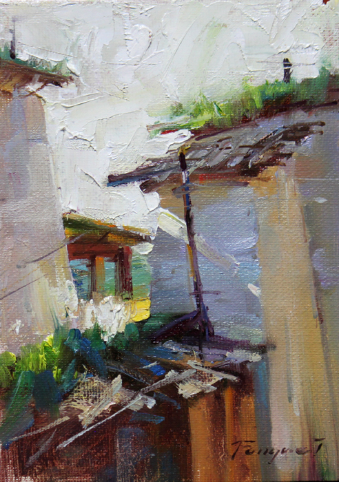"""Shangri - La -- the Village"" original fine art by Fongwei Liu"